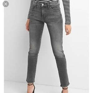 GAP Washed Black High Rise Slim Straight Jeans